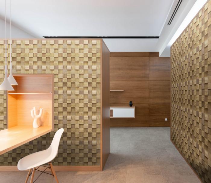 Деревянная 3D-мозаика для стен и потолка